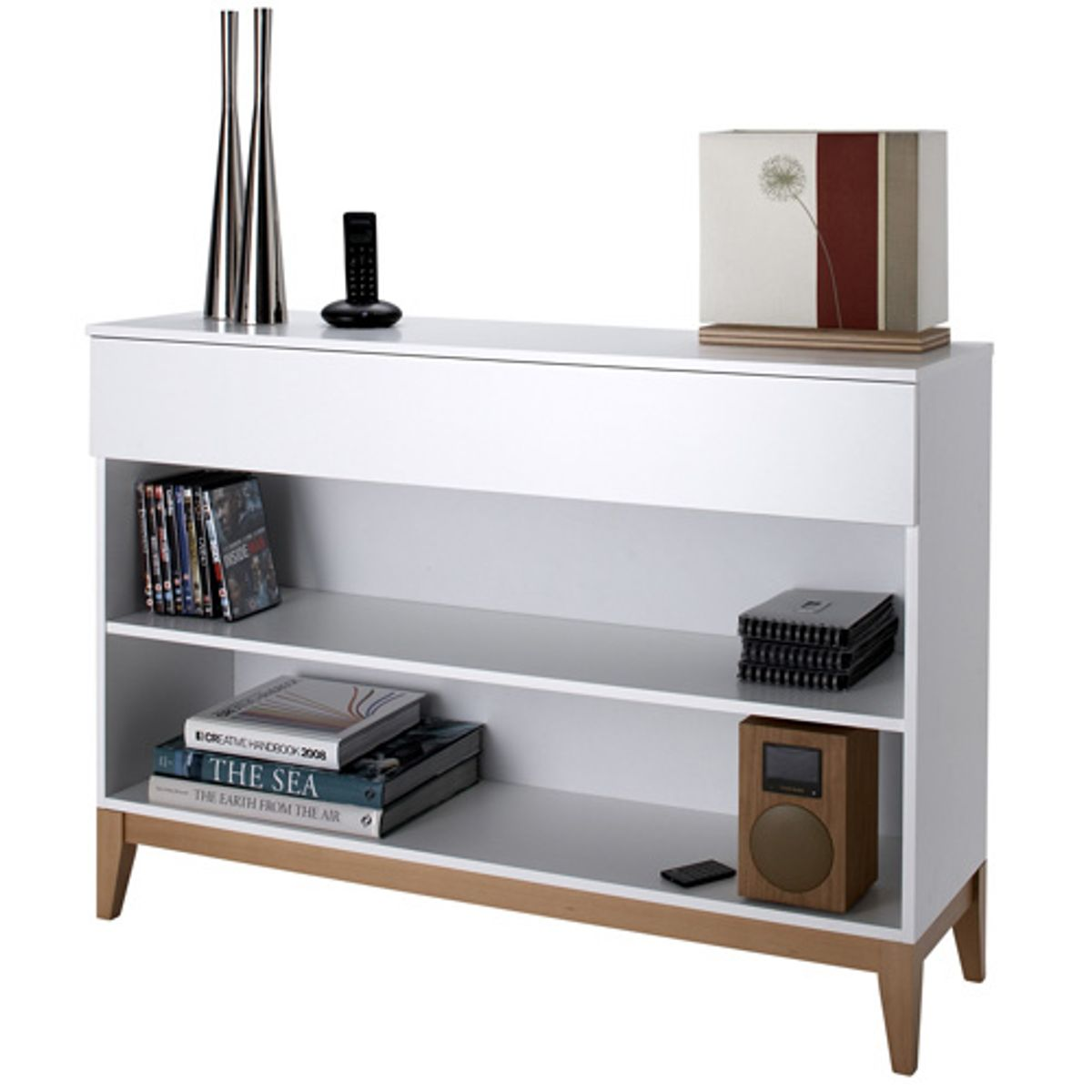 console en ch ne laqu blanc 2 tag res 1 tiroir blanco decoclico. Black Bedroom Furniture Sets. Home Design Ideas