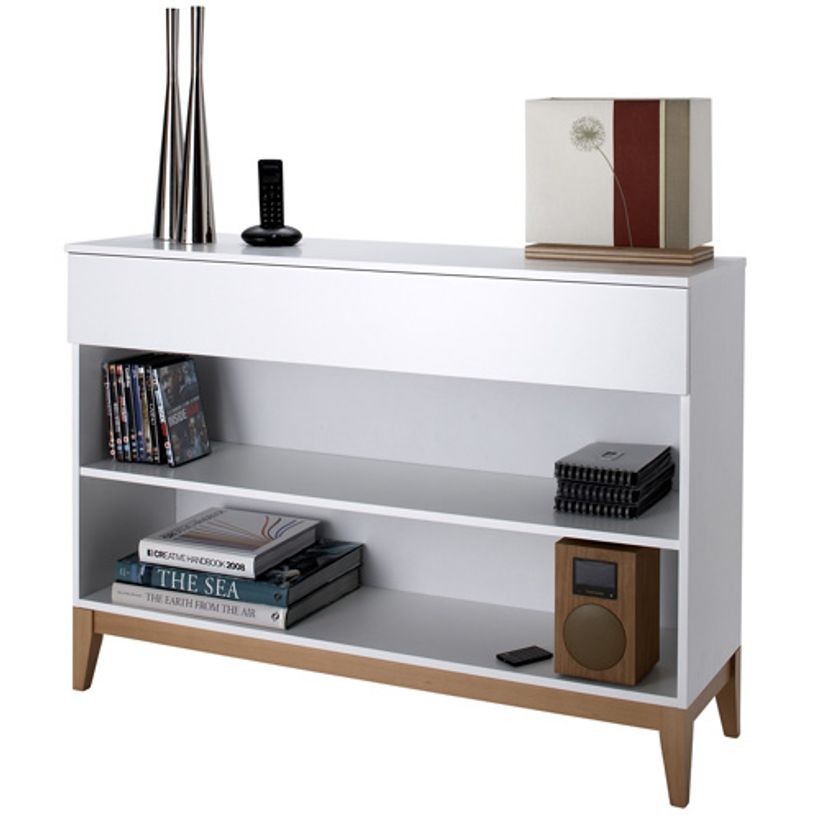 console en ch ne laqu blanc 2 tag res 1 tiroir blanco. Black Bedroom Furniture Sets. Home Design Ideas