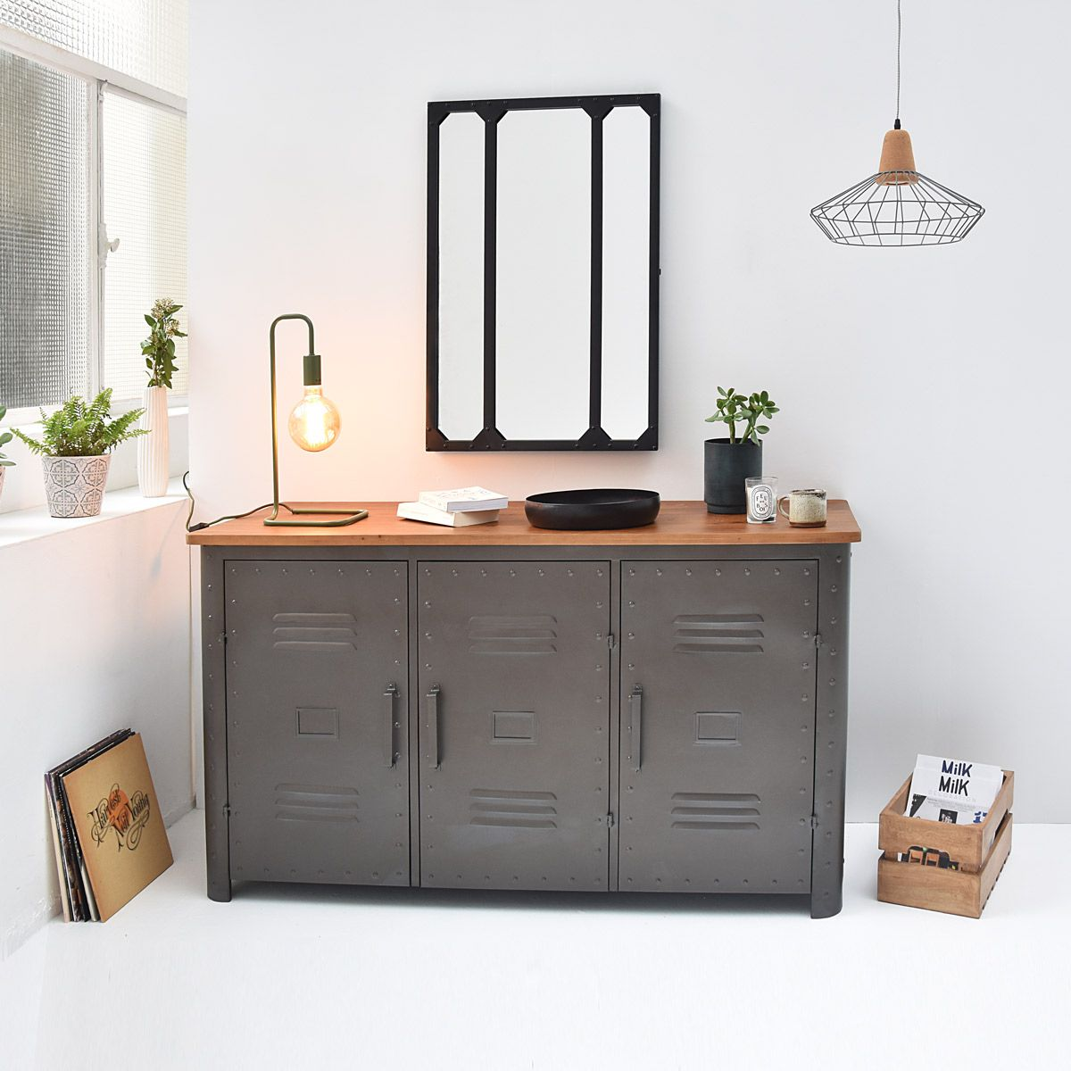 buffet 3 portes m tal gris et plateau bois style. Black Bedroom Furniture Sets. Home Design Ideas