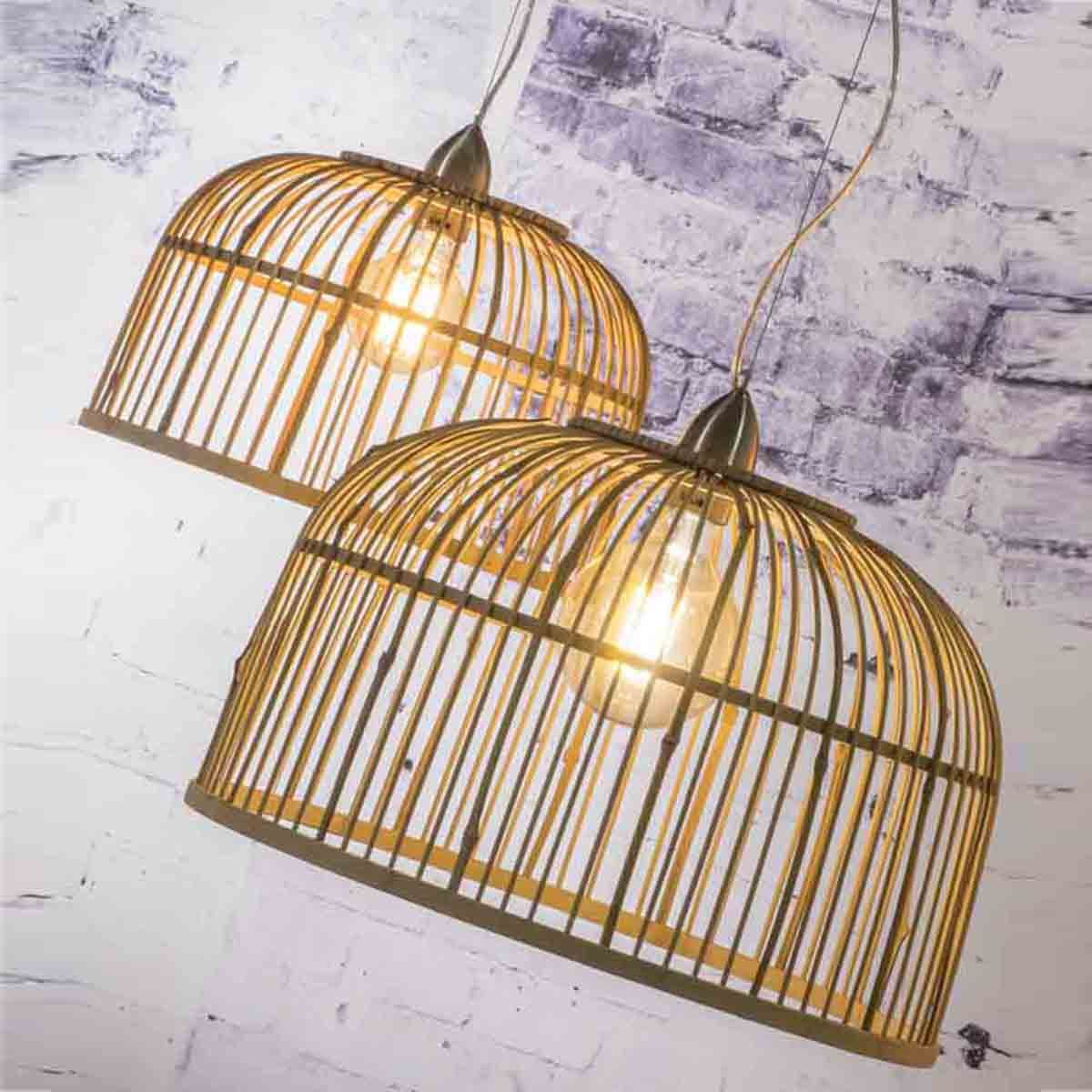 Suspension double en bambou naturel cage Borneo Good & Mojo