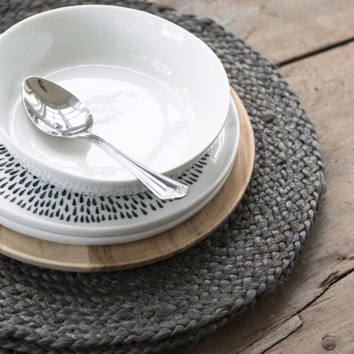 Set de table rond en jute tressé gris IB Laursen