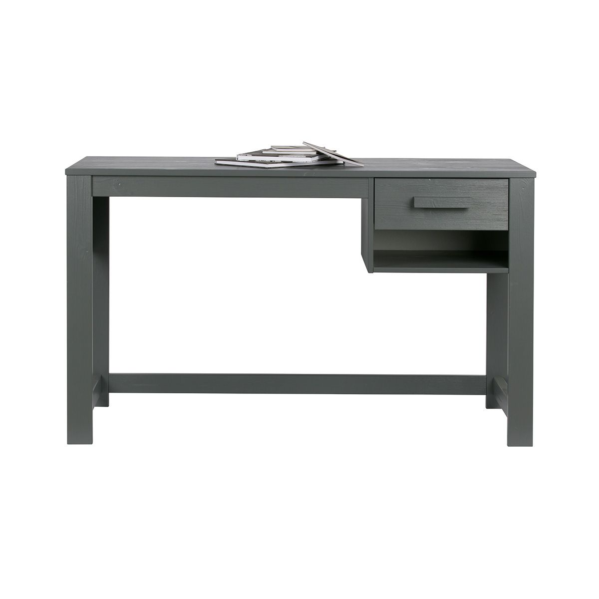 Bureau junior en pin massif brossé FSC Dennis - anthracite