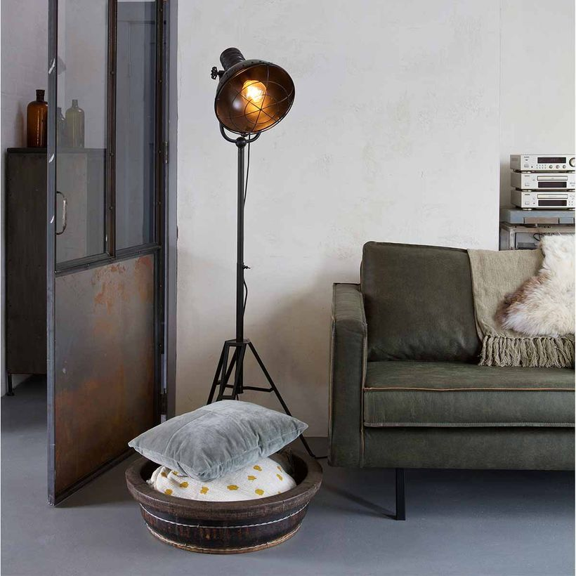 lampadaire style industriel en m tal noir spotlight decoclico. Black Bedroom Furniture Sets. Home Design Ideas