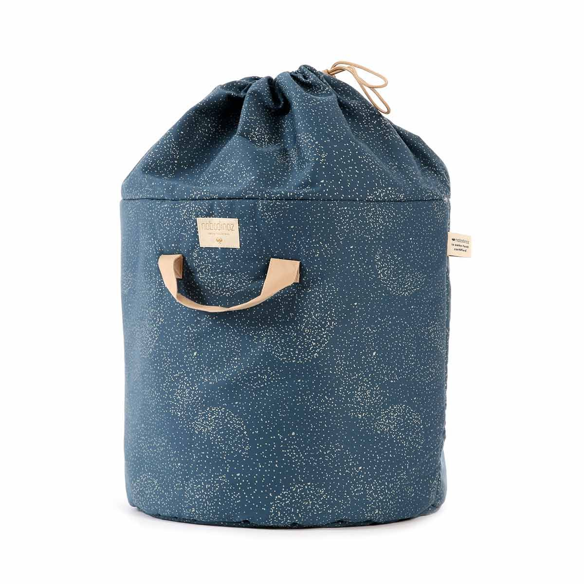 Sac à jouets en coton Bamboo Gold Bubble Night Blue Nobodinoz