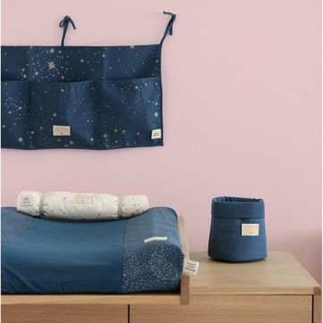 Panier en coton nid d´abeille Night Blue Nobodinoz - PM