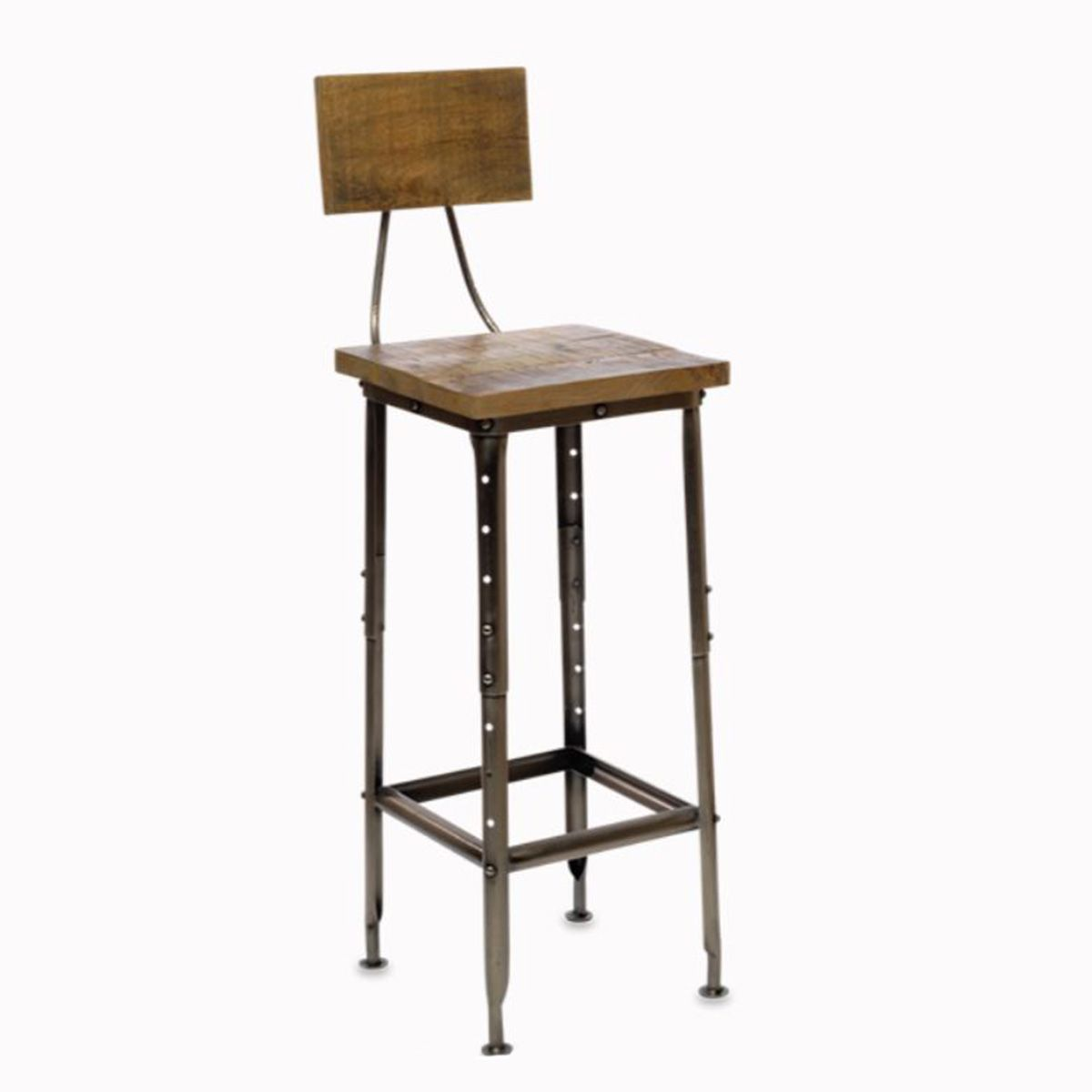 Tabouret de bar en manguier et nickel Tuni Nkuku