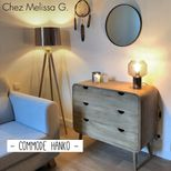 Commode en manguier naturel 3 tiroirs Hanko