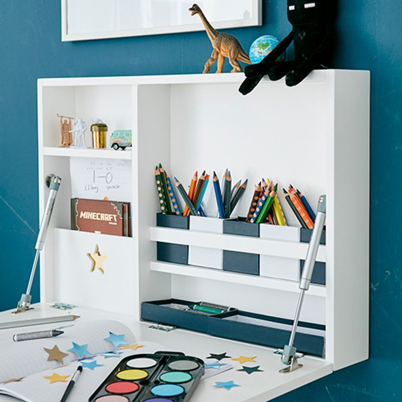 bureau mural enfant star kid 39 s concept en bois blanc decoclico. Black Bedroom Furniture Sets. Home Design Ideas