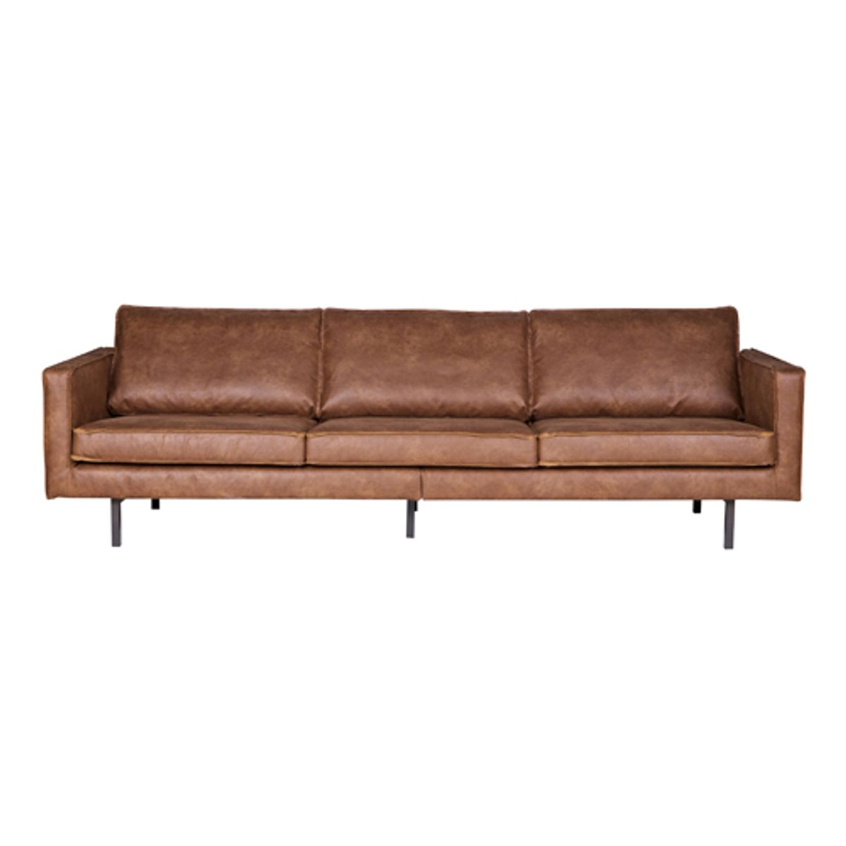 Canap contemporain en cuir et polyester rodeo cognac for Canape contemporain