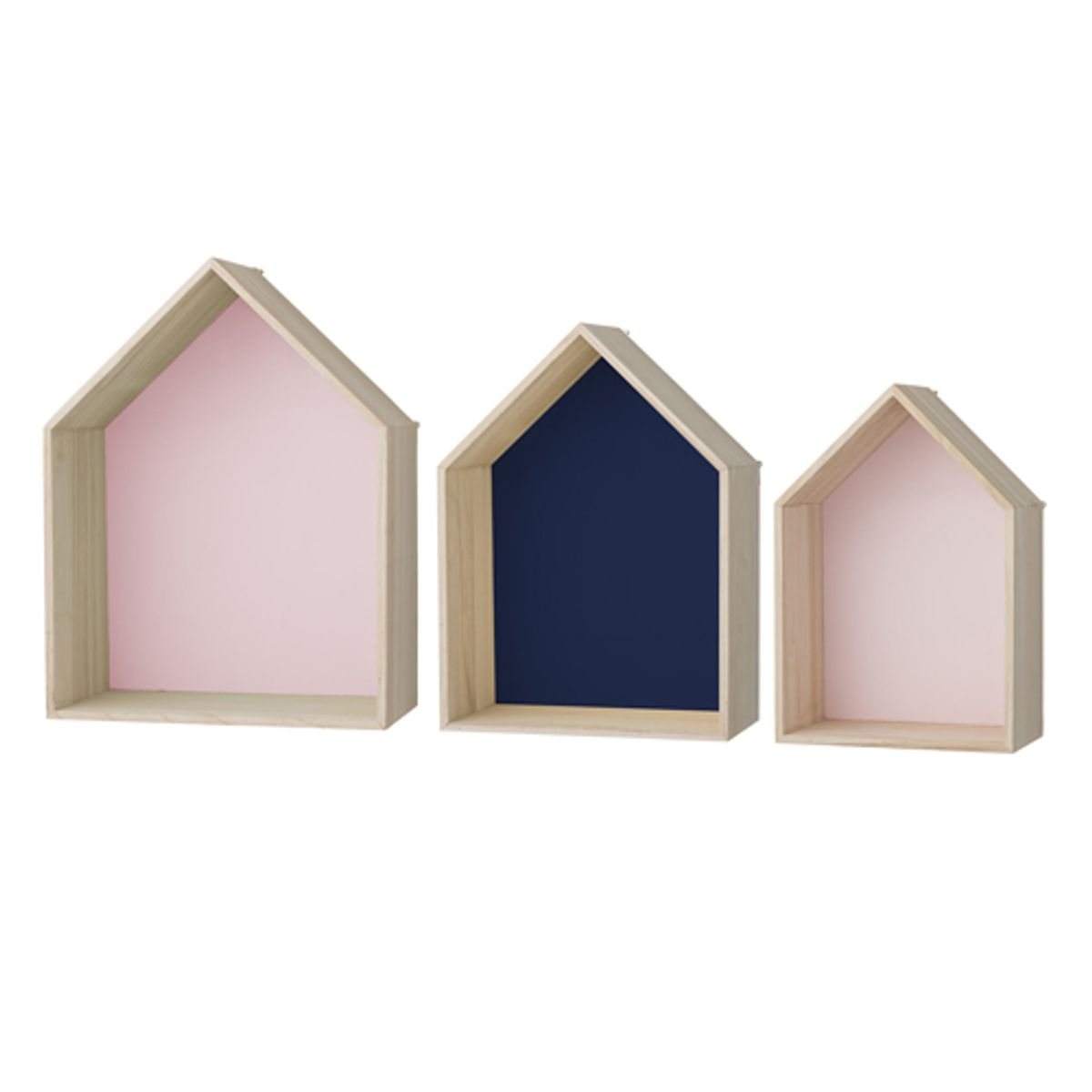 etag re murale maison en bois rose et bleu bloomingville par 3 decoclico. Black Bedroom Furniture Sets. Home Design Ideas