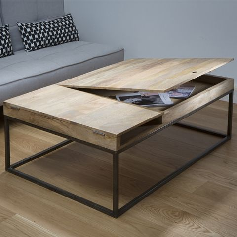 Console en manguier et m tal noir 2 niches double z ro - Table basse manguier ...