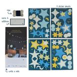 Guirlande phosphorescente papier et corde bleue Star Glow In The Dark