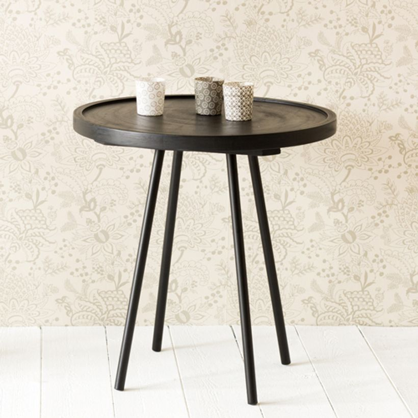 Gu ridon en fer et bois noir juco house doctor decoclico for Table filaire