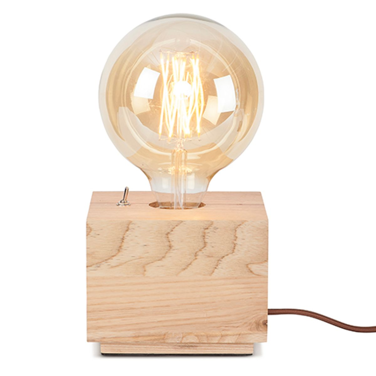 Lampe socle carré en bois naturel Kobe It´s about Romi