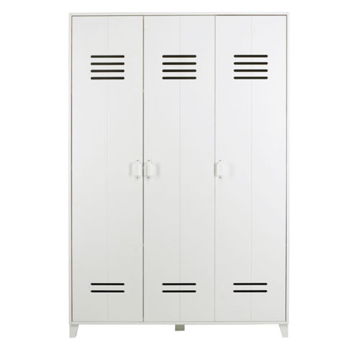 armoire type casier 3 portes en pin blanc locker decoclico. Black Bedroom Furniture Sets. Home Design Ideas