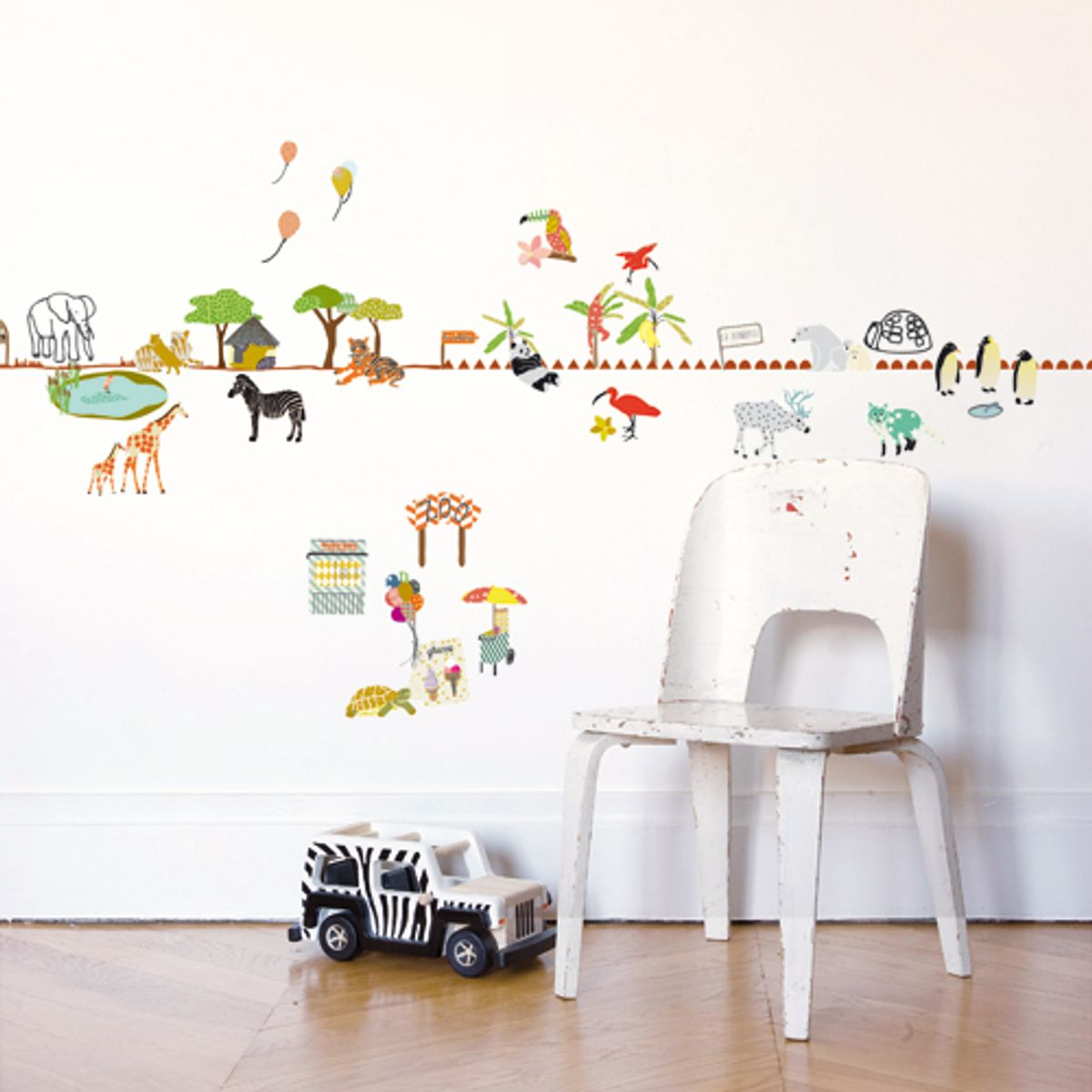 sticker frise murale pour enfant ballade au zoo mimi lou. Black Bedroom Furniture Sets. Home Design Ideas