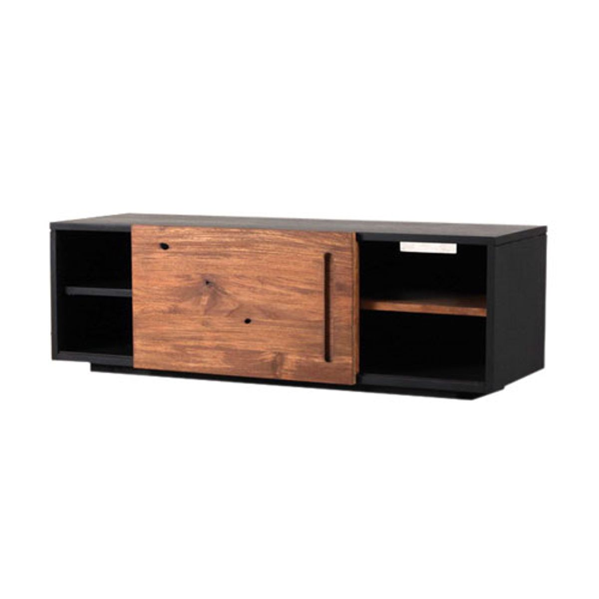 meuble tv bas en bois teck 1 ou 2 portes coulissantes sotra decoclico. Black Bedroom Furniture Sets. Home Design Ideas