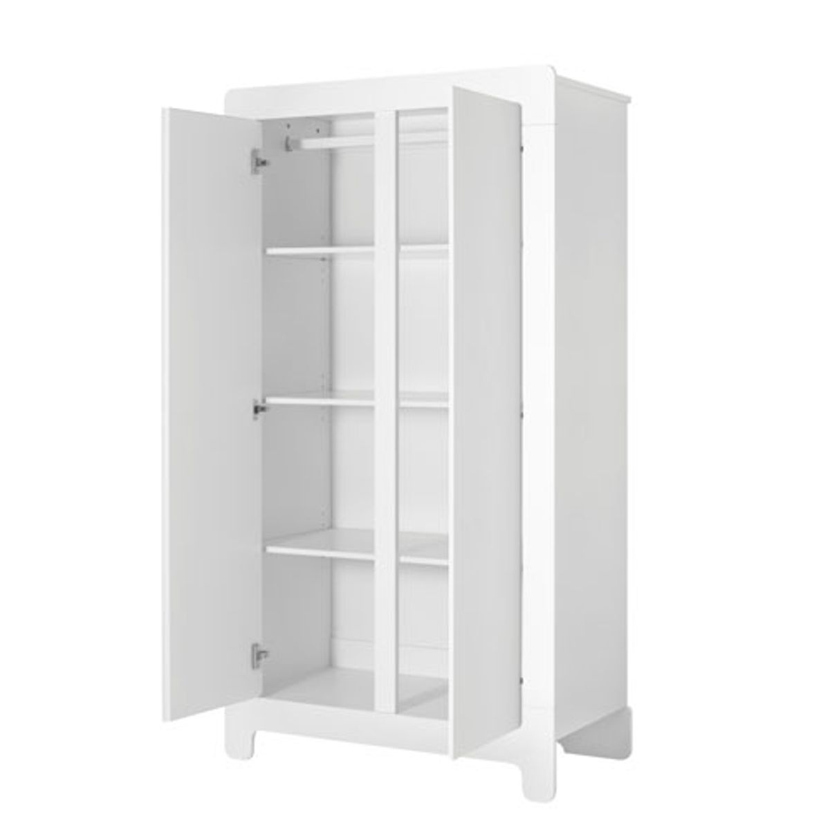 armoire penderie en bois blanc 2 portes 3 tag res moon. Black Bedroom Furniture Sets. Home Design Ideas