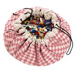 Sac de rangement / tapis de jeu en coton diamant Play and go - rose