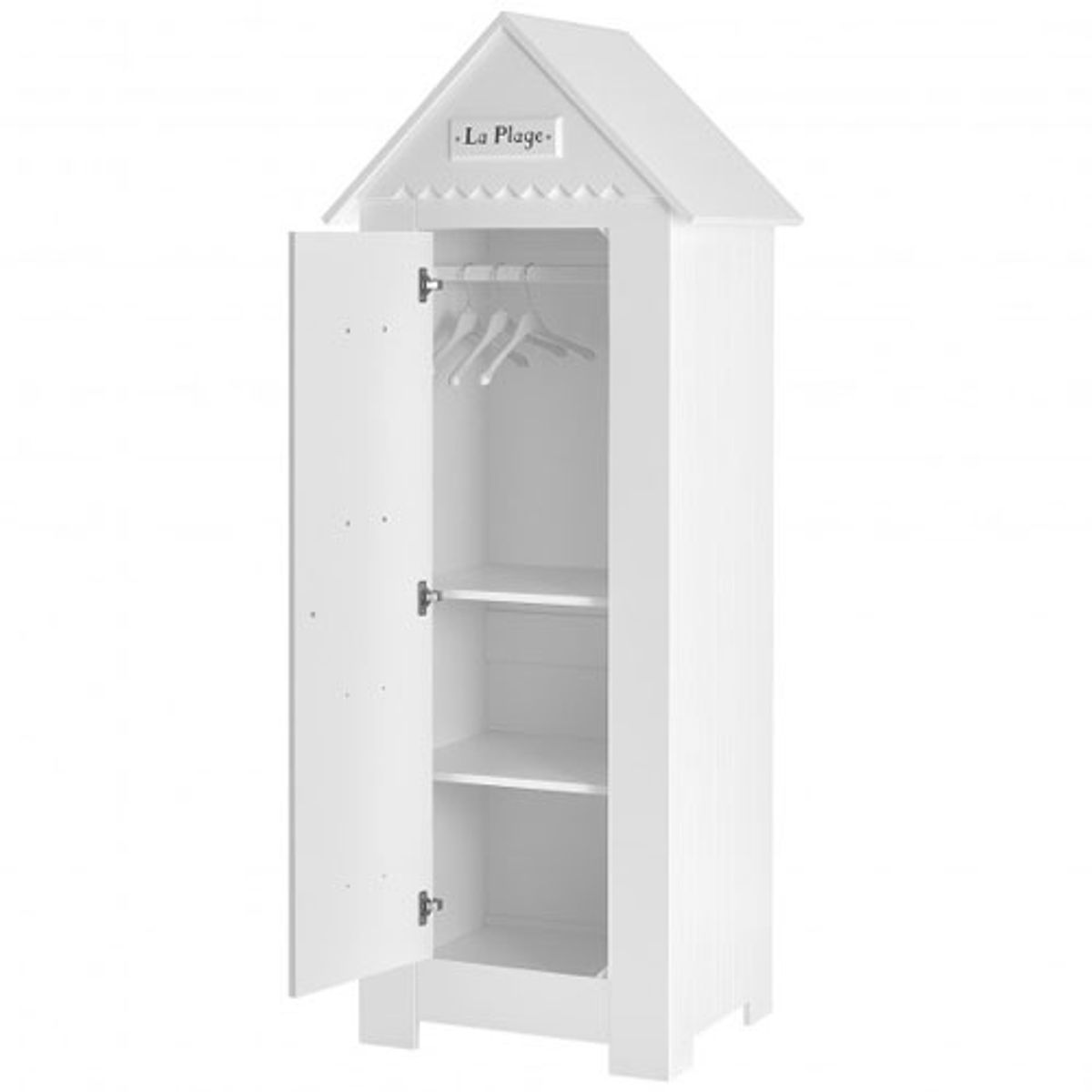 armoire penderie enfant cabine plage en bois blanc marsylia pinio decoclico. Black Bedroom Furniture Sets. Home Design Ideas