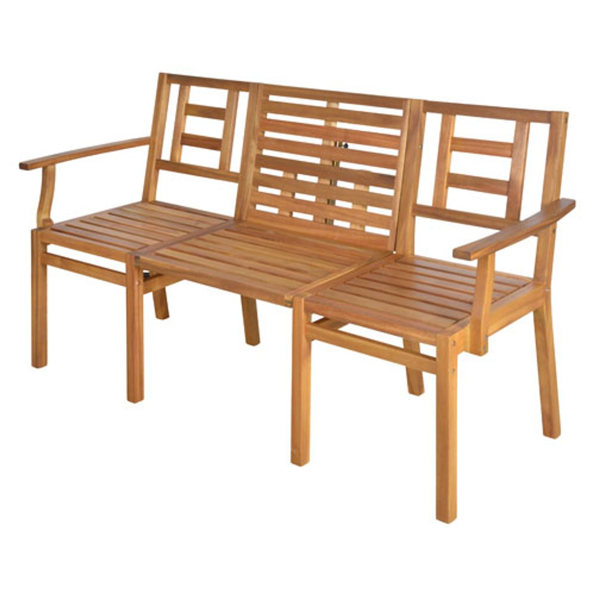 Salon de jardin transformable 2 en 1 table et banc en acacia my balconia decoclico - Salon de jardin en acacia ...