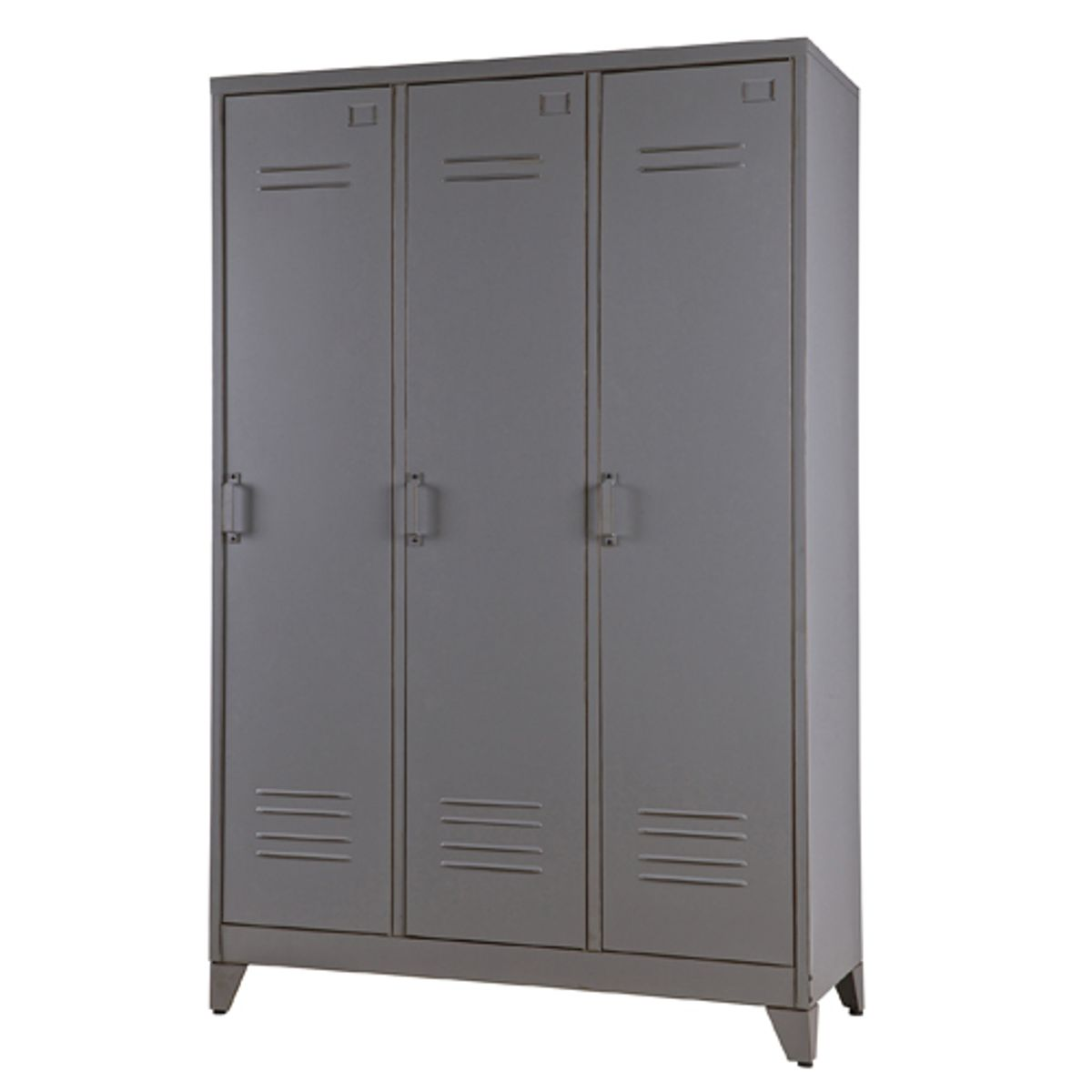armoire penderie type casier en m tal gris 3 portes 3. Black Bedroom Furniture Sets. Home Design Ideas