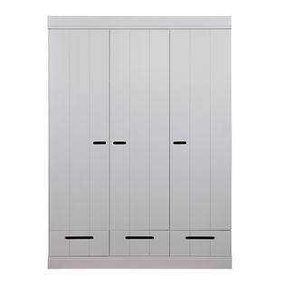 Armoire penderie en pin massif 3 portes 3 tiroirs connect for Penderie roulante