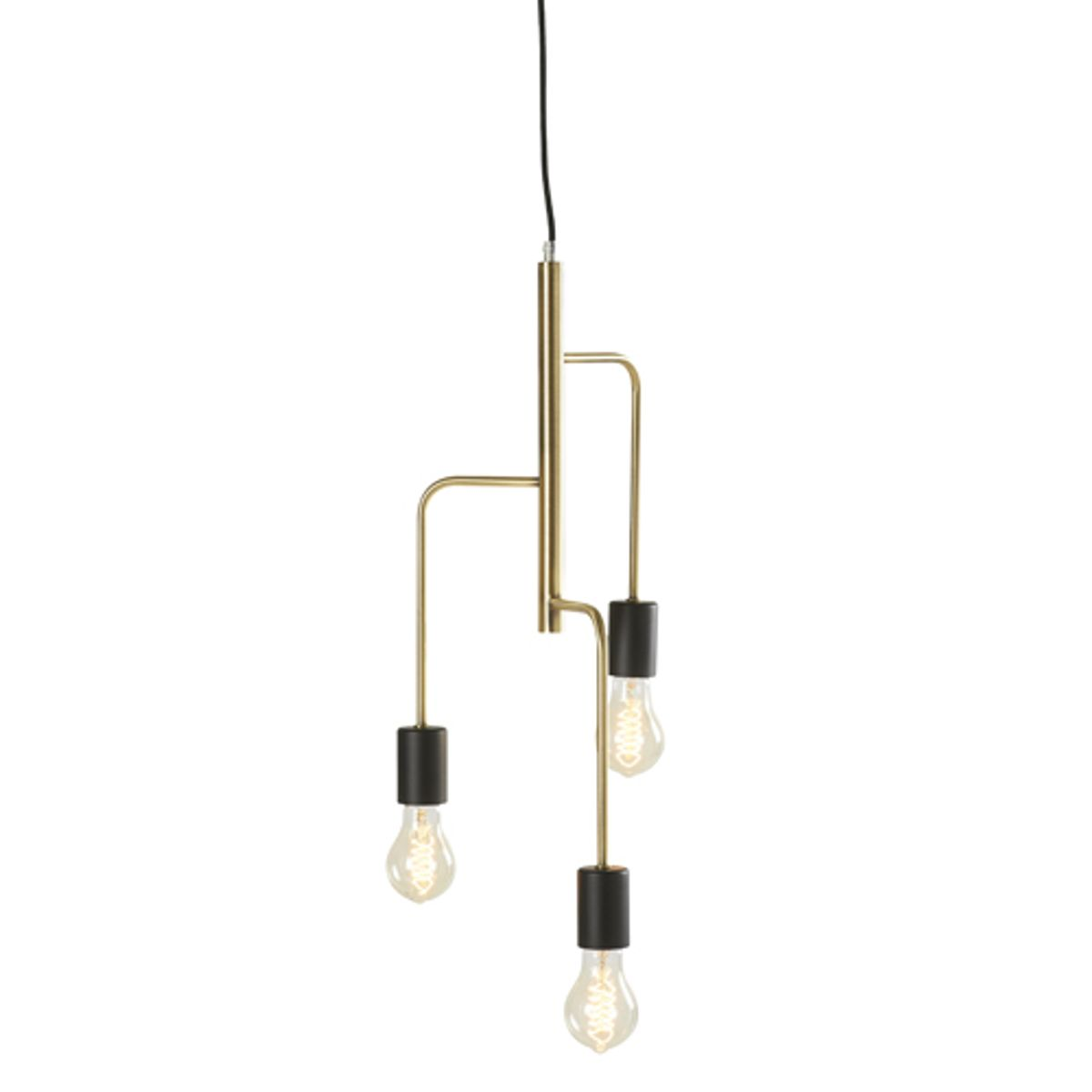 Lustre suspension 3 douilles en m tal laiton et noir for Lustre metal noir