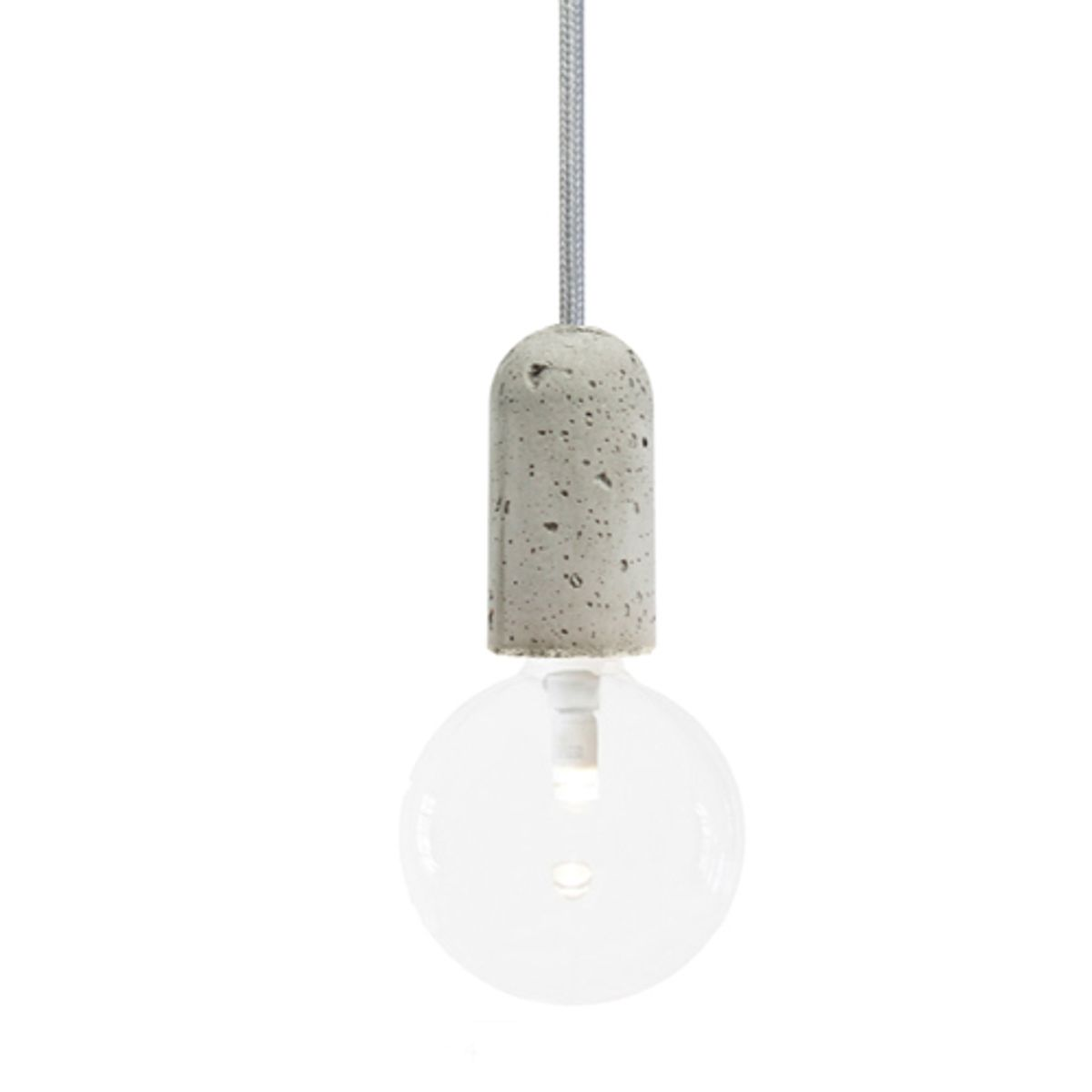 Suspension douille en béton Base Nud Collection - fil gris argenté